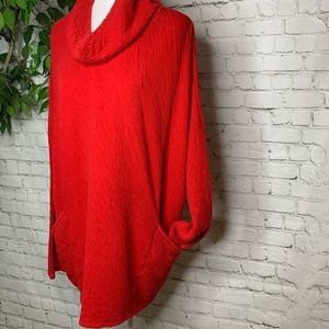 Pure Jill Red Cowl Neck Textured Oversized Tunic